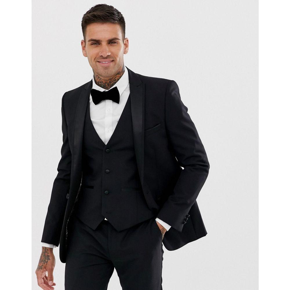 ハリー ブラウン Harry Brown メンズ スーツ・ジャケット ディナージャケット アウター【slim fit 85% wool satin lapel dinner suit jacket】Black