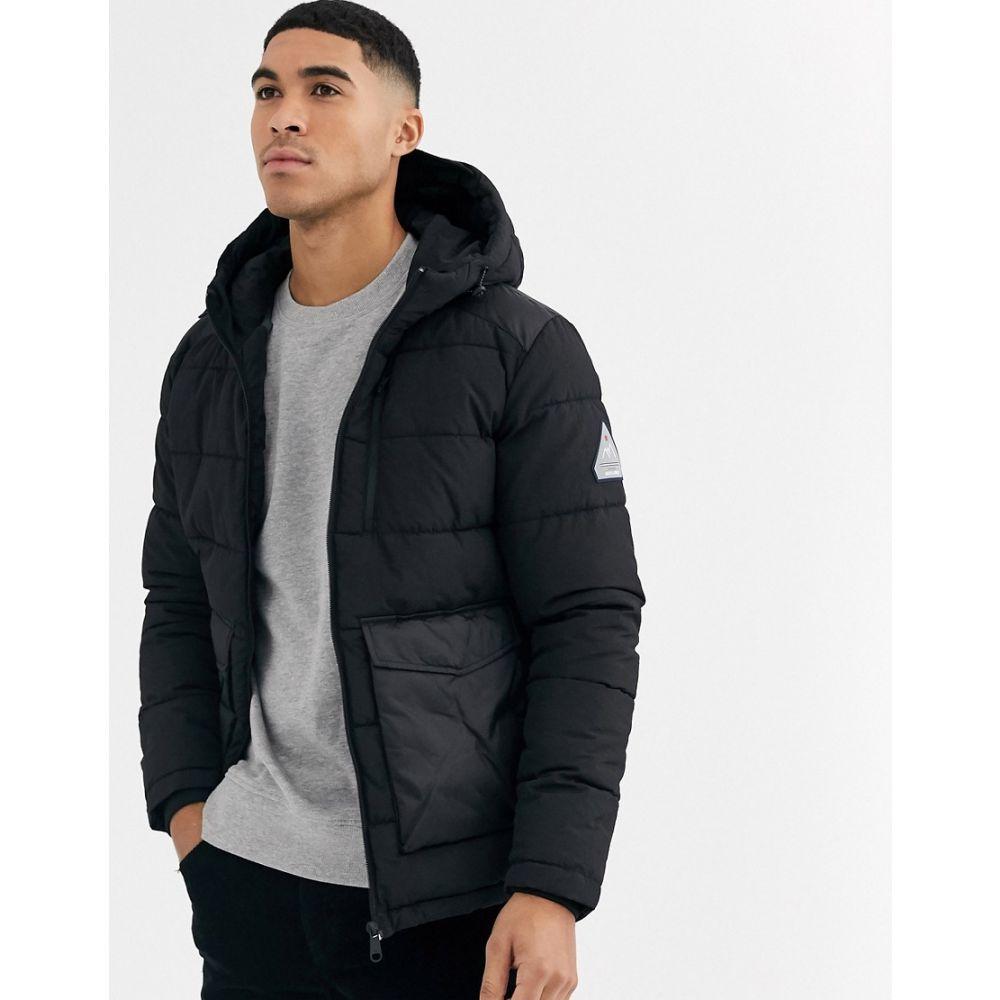 ジャック アンド ジョーンズ Jack & Jones メンズ ダウン・中綿ジャケット フード アウター【Originals hooded puffer jacket with patch pockets in black】Black