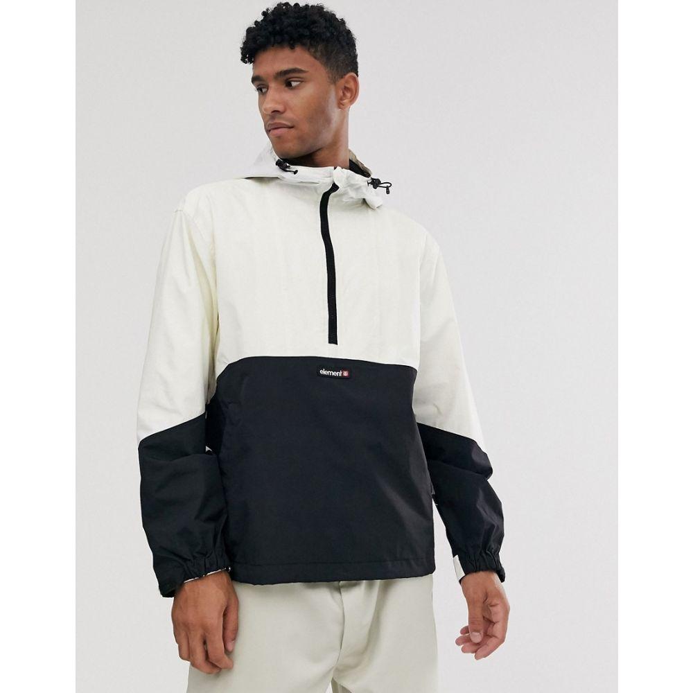 エレメント Element メンズ ジャケット ウィンドブレーカー アウター【Primo Pop overhead windbreaker jacket in white/black】White