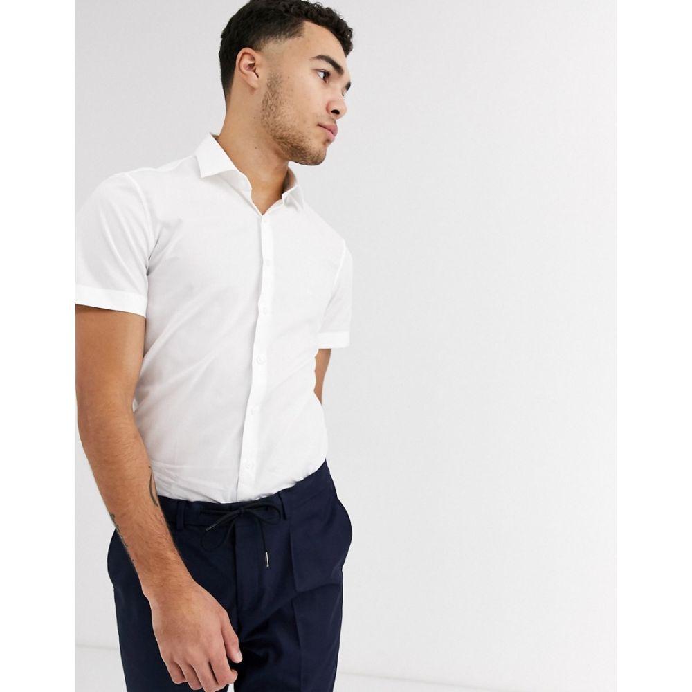 カルバンクライン Calvin Klein メンズ 半袖シャツ トップス【poplin stretch slim short sleeve shirt】White