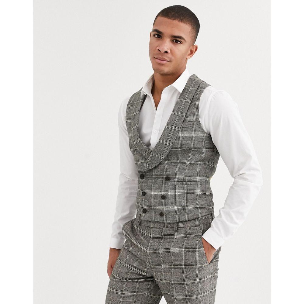 ハリー ブラウン Harry Brown メンズ ベスト・ジレ トップス【slim fit brown overcheck waistcoat】Grey