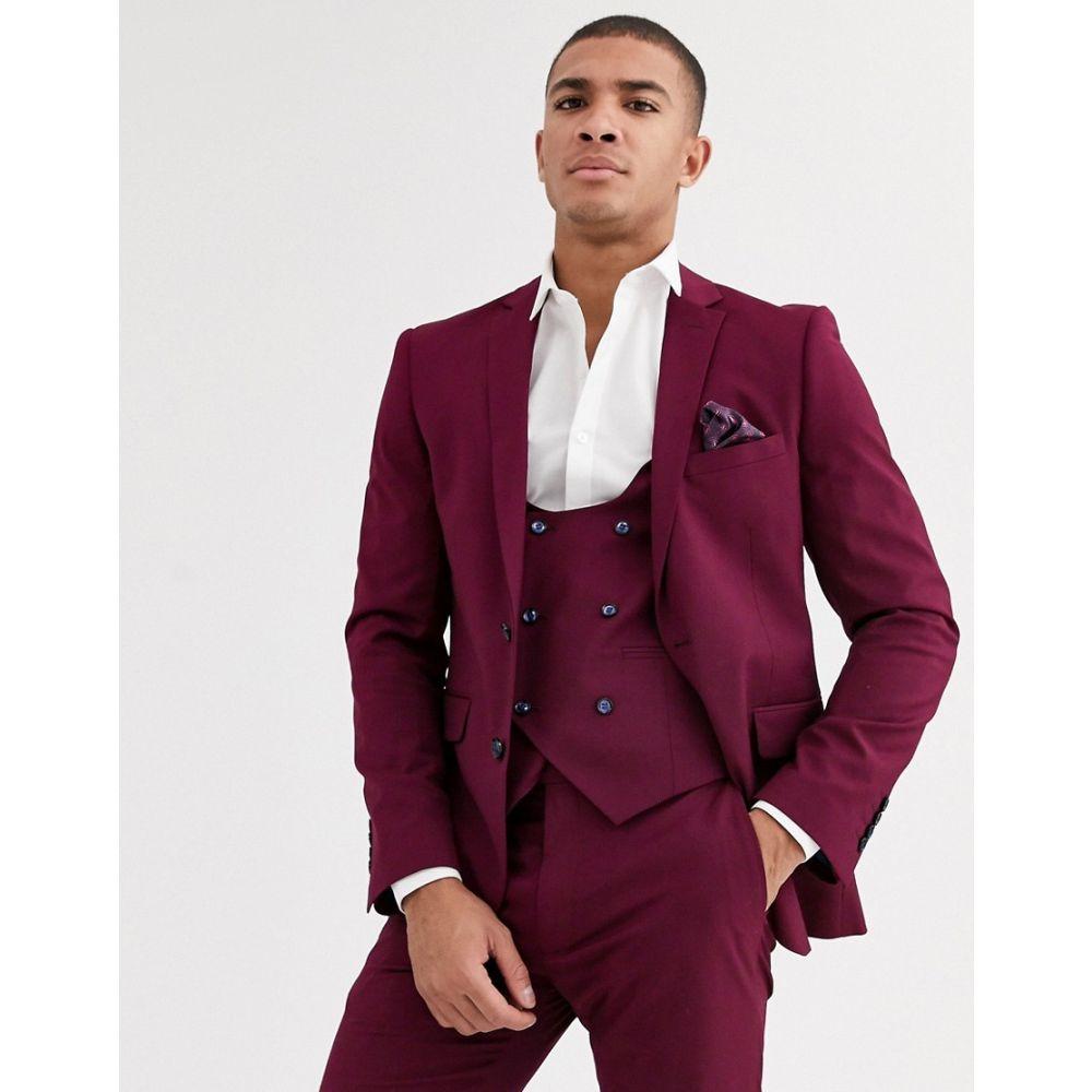 ハリー ブラウン Harry Brown メンズ スーツ・ジャケット アウター【skinny fit stretch plain suit jacket】Plum