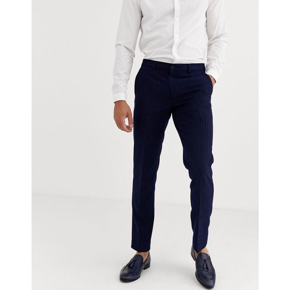 ハリー ブラウン Harry Brown メンズ スラックス ボトムス・パンツ【slim fit blue chalk stripe suit trousers】Navy