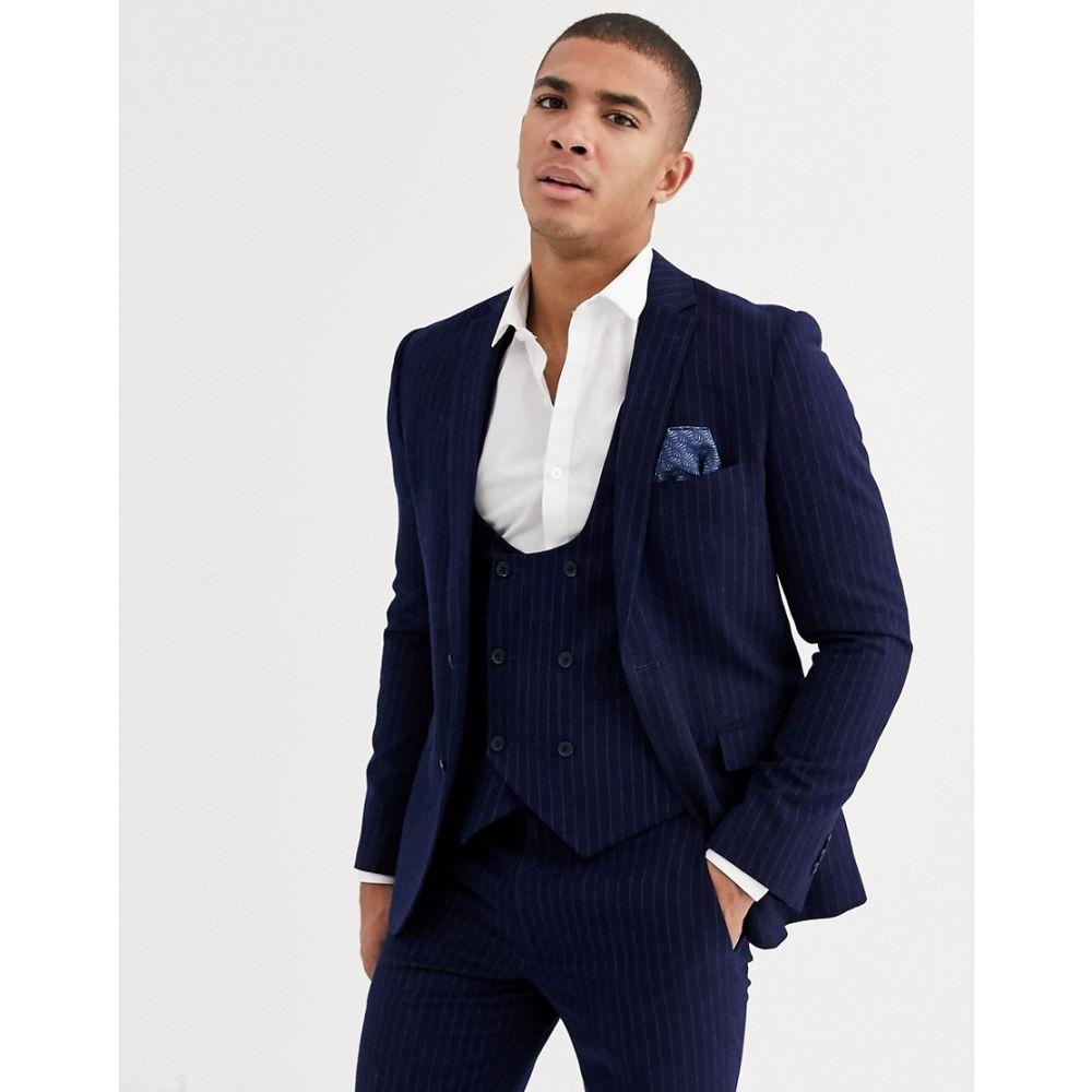 ハリー ブラウン Harry Brown メンズ ベスト・ジレ トップス【slim fit blue chalk stripe waistcoat】Navy