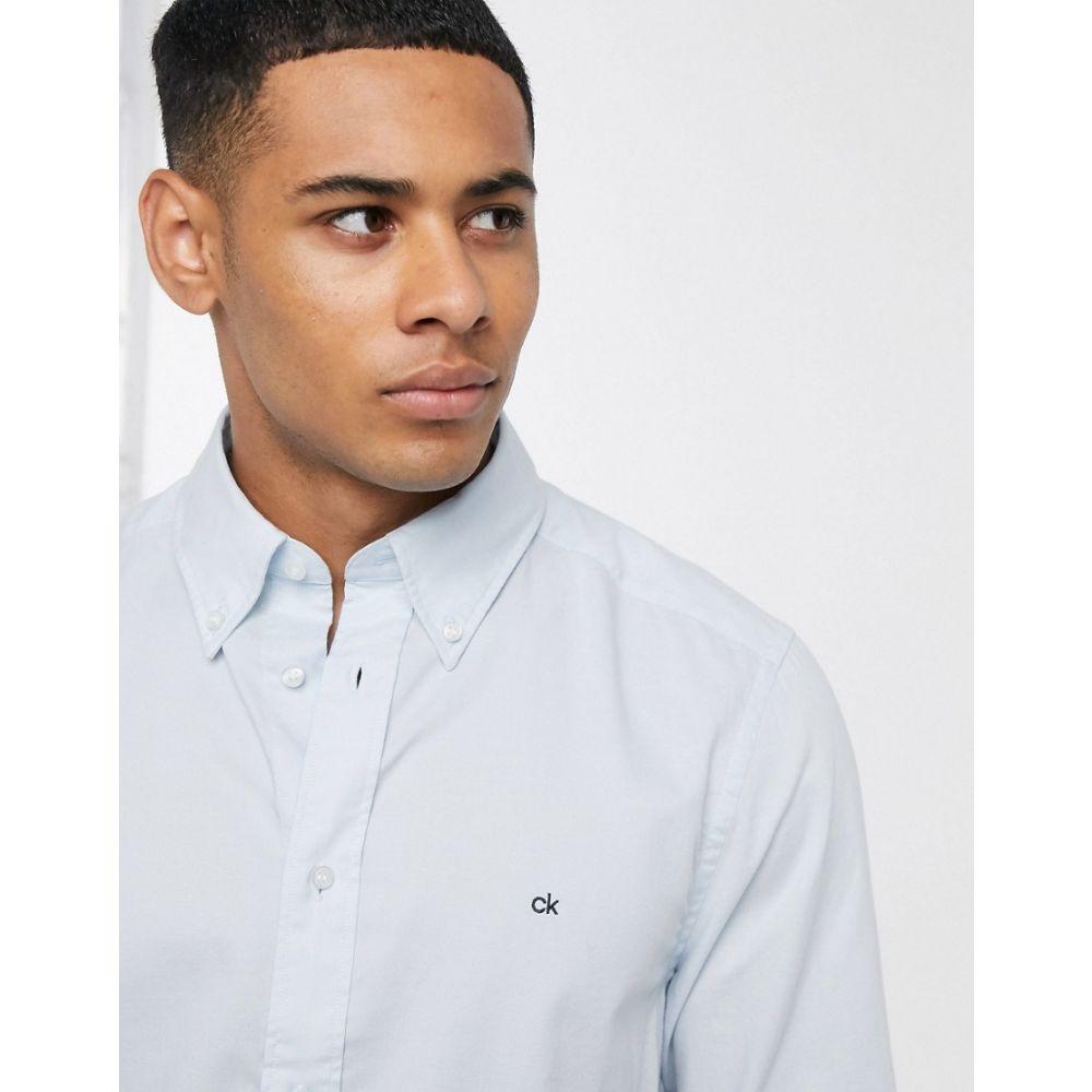 カルバンクライン Calvin Klein メンズ シャツ トップス【logo oxford long sleeve shirt】Blue
