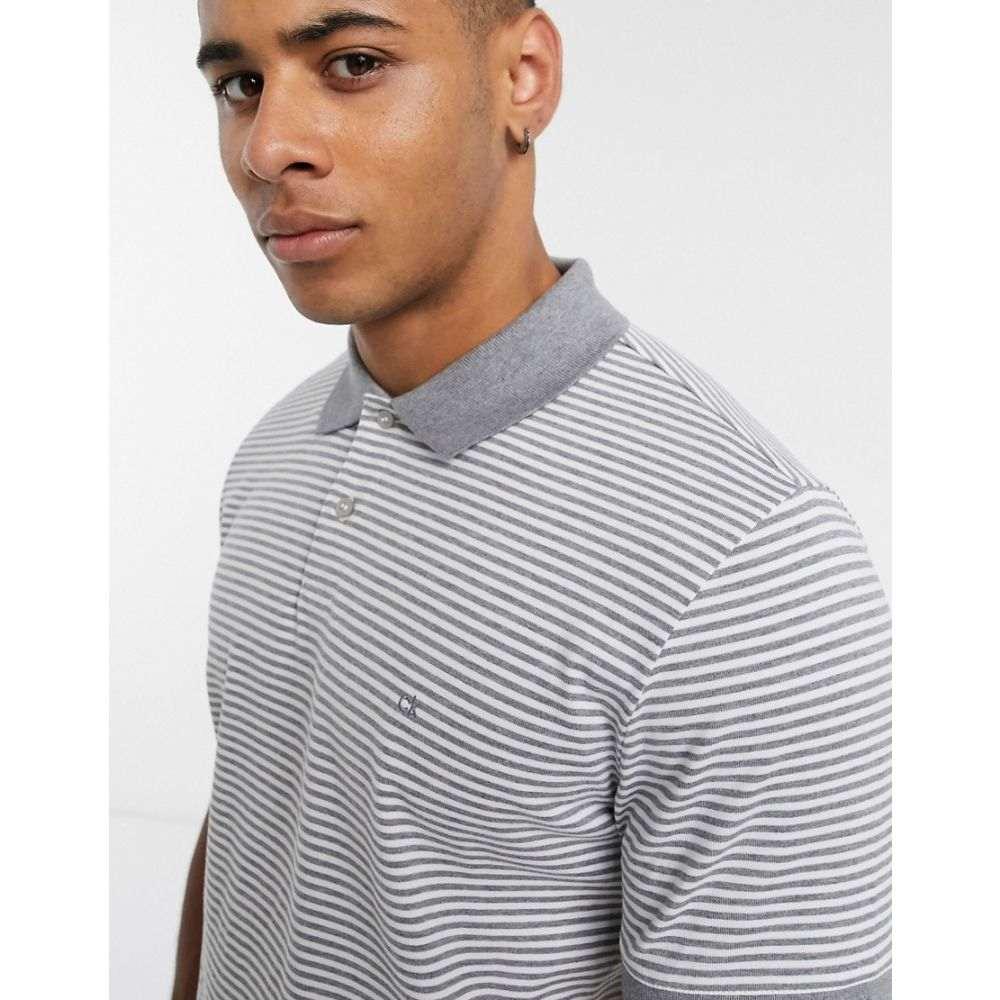カルバンクライン Calvin Klein メンズ ポロシャツ トップス【stripe logo badge polo shirt】Grey