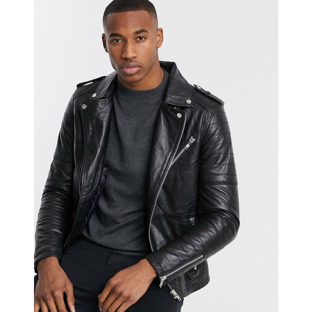 バーニーズ オリジナル Barneys Originals メンズ レザージャケット アウター【quilted real leather zipped biker】Black