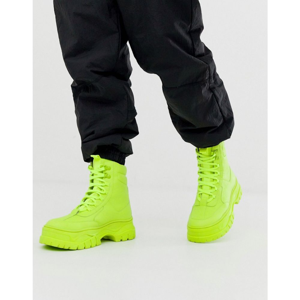 エイソス ASOS DESIGN メンズ ブーツ レースアップブーツ シューズ・靴【lace up faux leather boot in neon green with chunky sole】Green