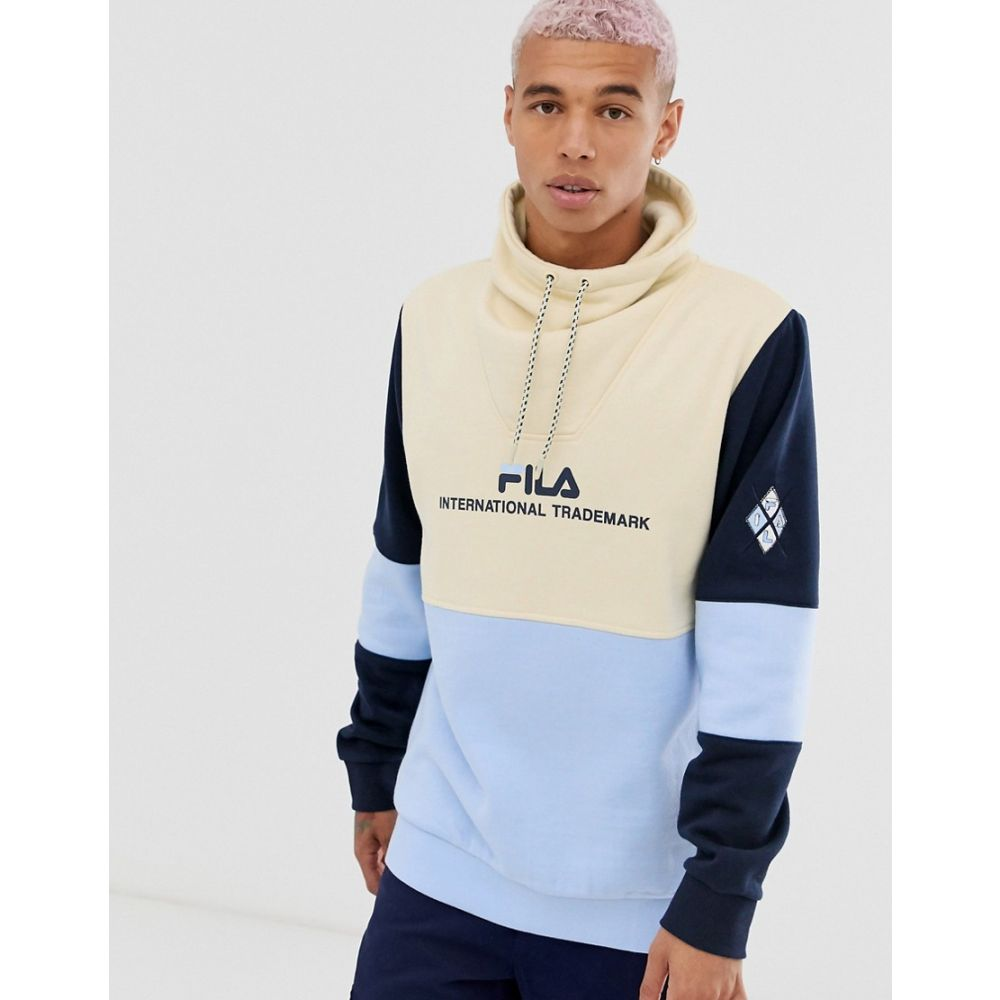 フィラ Fila メンズ スウェット・トレーナー トップス【Marcello colour block funnel neck sweat in bleached sand】Beige