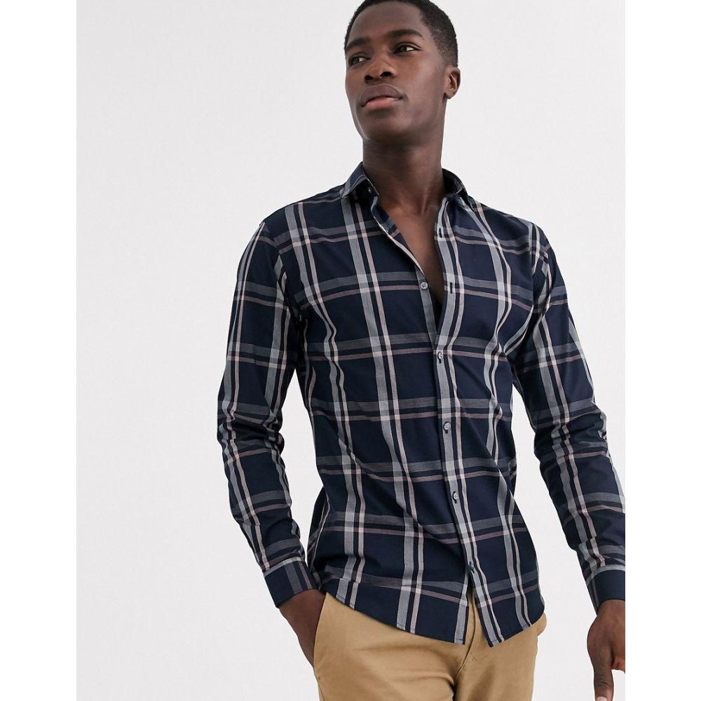 ジャック アンド ジョーンズ Jack & Jones メンズ シャツ トップス【Premium window pane shadow check shirt in navy】Navy blazer