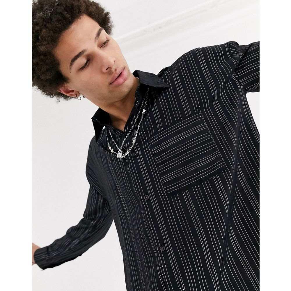 ジェイディッド ロンドン Jaded London メンズ シャツ トップス【metallic pinstripe long sleeve shirt in black】Black