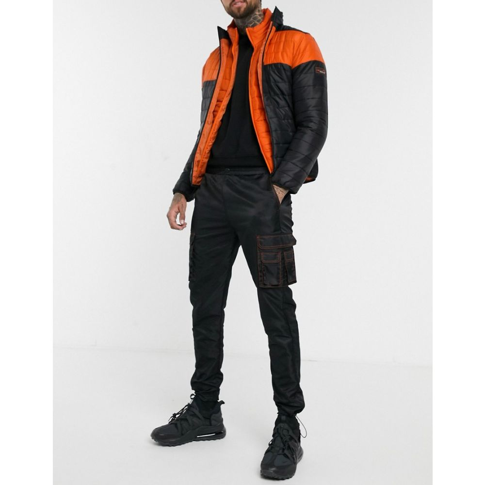 リカーアンドポーカー Liquor N Poker メンズ カーゴパンツ ボトムス・パンツ【colour block cargo trousers in black and orange】Black