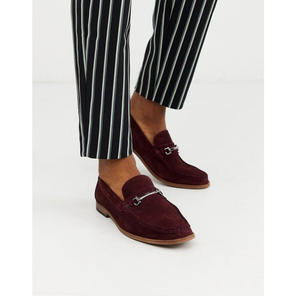 モス ブラザーズ MOSS BROS メンズ ローファー シューズ・靴【Moss London suede loafer with buckle in burgundy】Burgundy