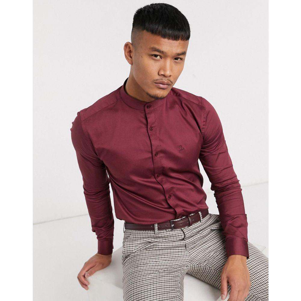 ロックストック Lockstock メンズ シャツ トップス【Porto grandad shirt in burgundy】Red