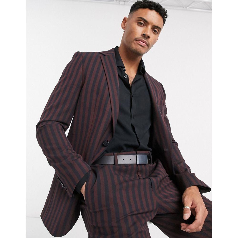 ロックストック Lockstock メンズ スーツ・ジャケット アウター【Warwick stripe blazer in burgundy】Red