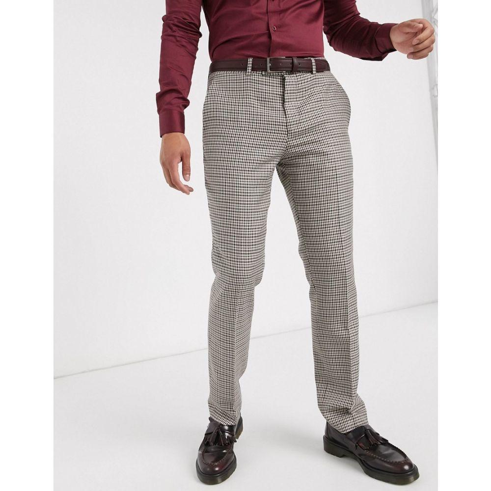 ロックストック Lockstock メンズ スラックス ボトムス・パンツ【Ludlow suit trouser in micro brown check】Brown