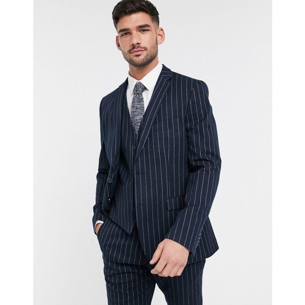 フレンチコネクション French Connection メンズ スーツ・ジャケット アウター【flannel chalk stripe slim fit suit jacket】Marine