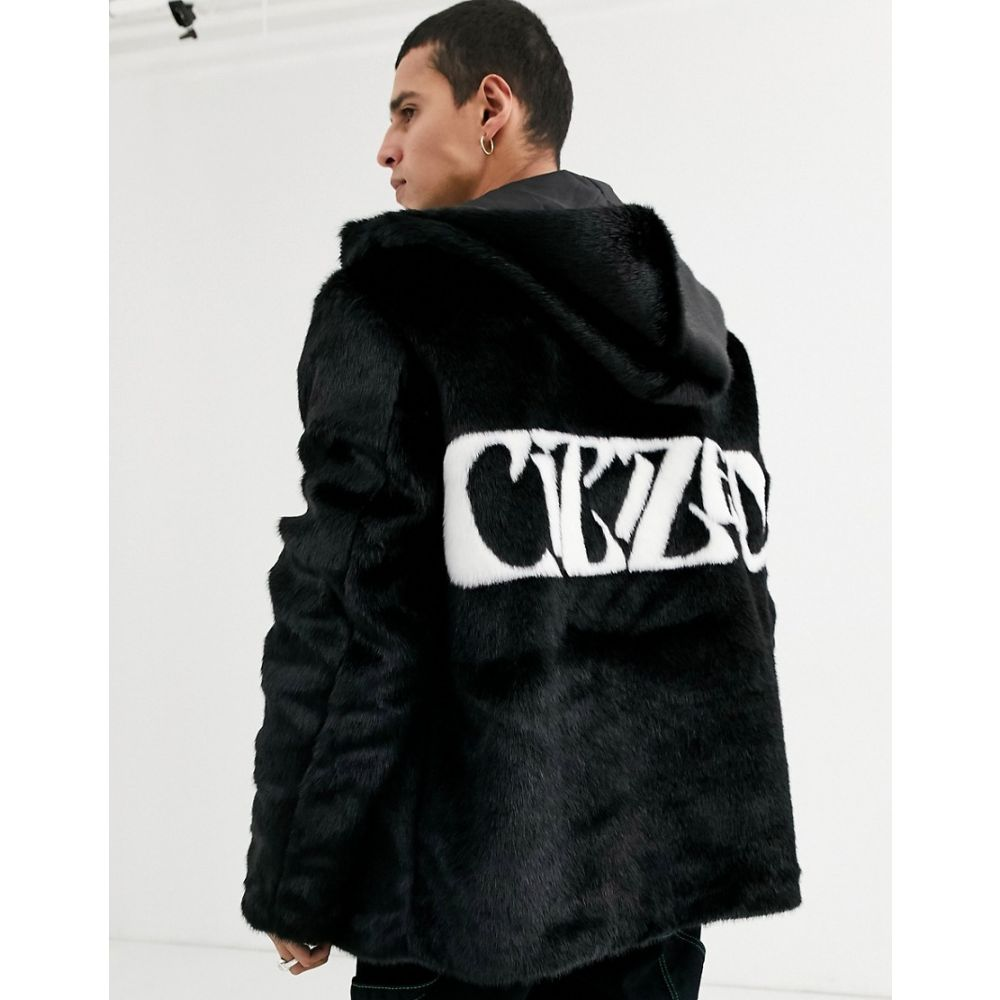 エイソス ASOS DESIGN メンズ ジャケット アウター【jacket in faux fur with back print】Black