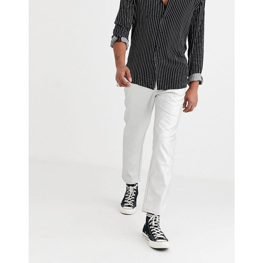 エイソス ASOS DESIGN メンズ ボトムス・パンツ 【tapered trousers in faux leather in silver】Silver