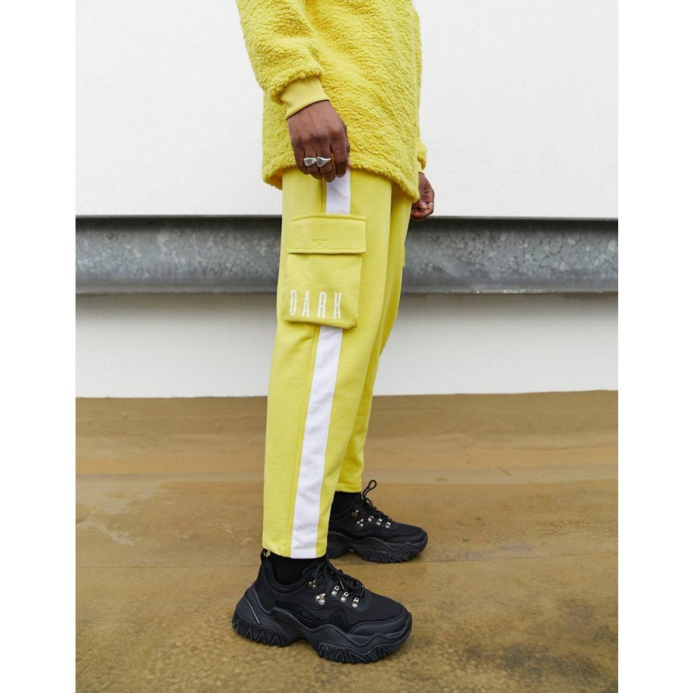 エイソス ASOS DESIGN メンズ ジョガーパンツ ボトムス・パンツ【co-ord slim joggers with side pockets and dark future logo】Yellow