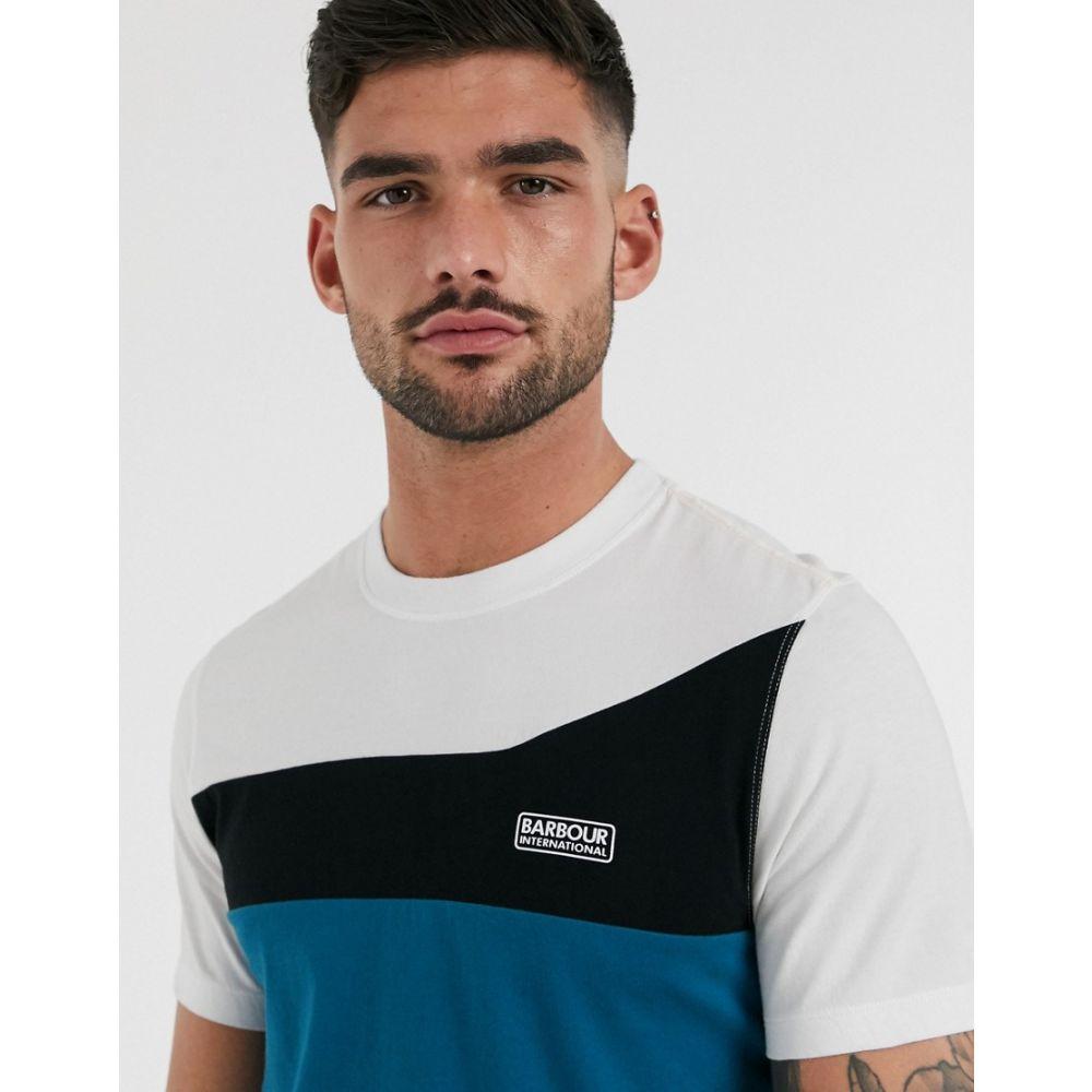 バブアー Barbour International メンズ Tシャツ トップス【Steering chevron colourblock t-shirt in white】White