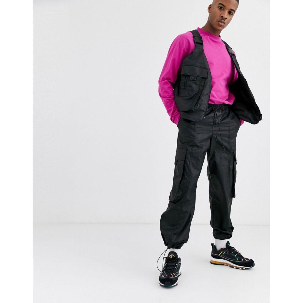 エイソス ASOS DESIGN メンズ カーゴパンツ ワイドパンツ ボトムス・パンツ【co-ord wide leg leather look cargo trousers in black】Black