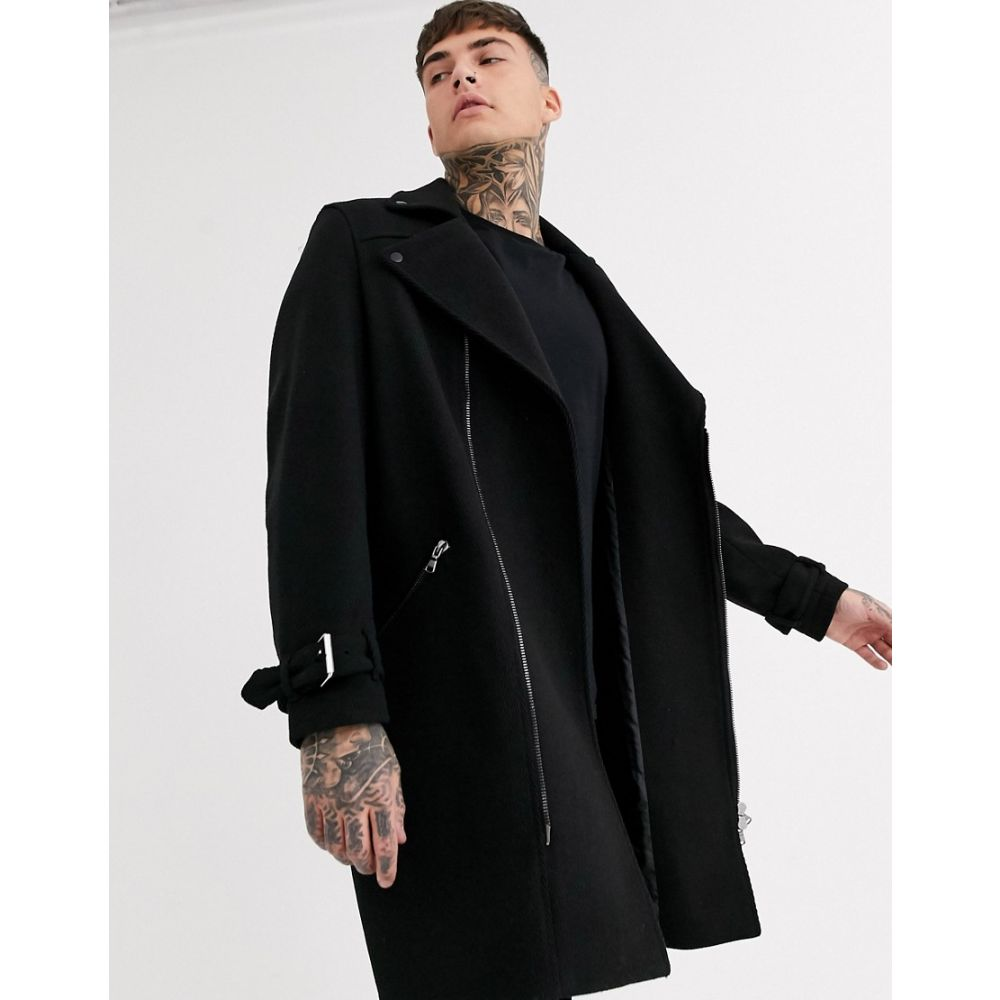 エイソス ASOS DESIGN メンズ コート アウター【wool mix overcoat in black with biker detailing】Black