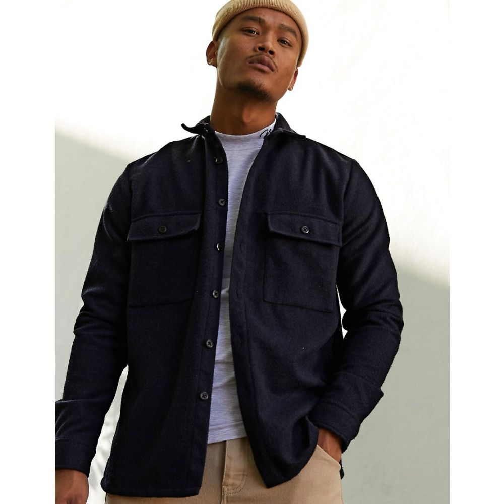 エイソス ASOS DESIGN メンズ シャツ オーバーシャツ トップス【navy wool mix overshirt with double pockets】Navy