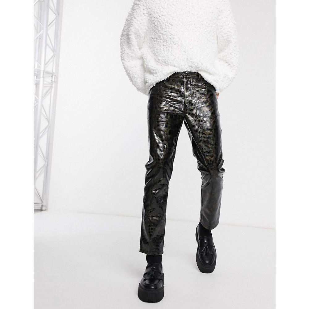 エイソス ASOS EDITION メンズ スキニー・スリム ボトムス・パンツ【co-ord slim trousers in croc print vinyl】Black
