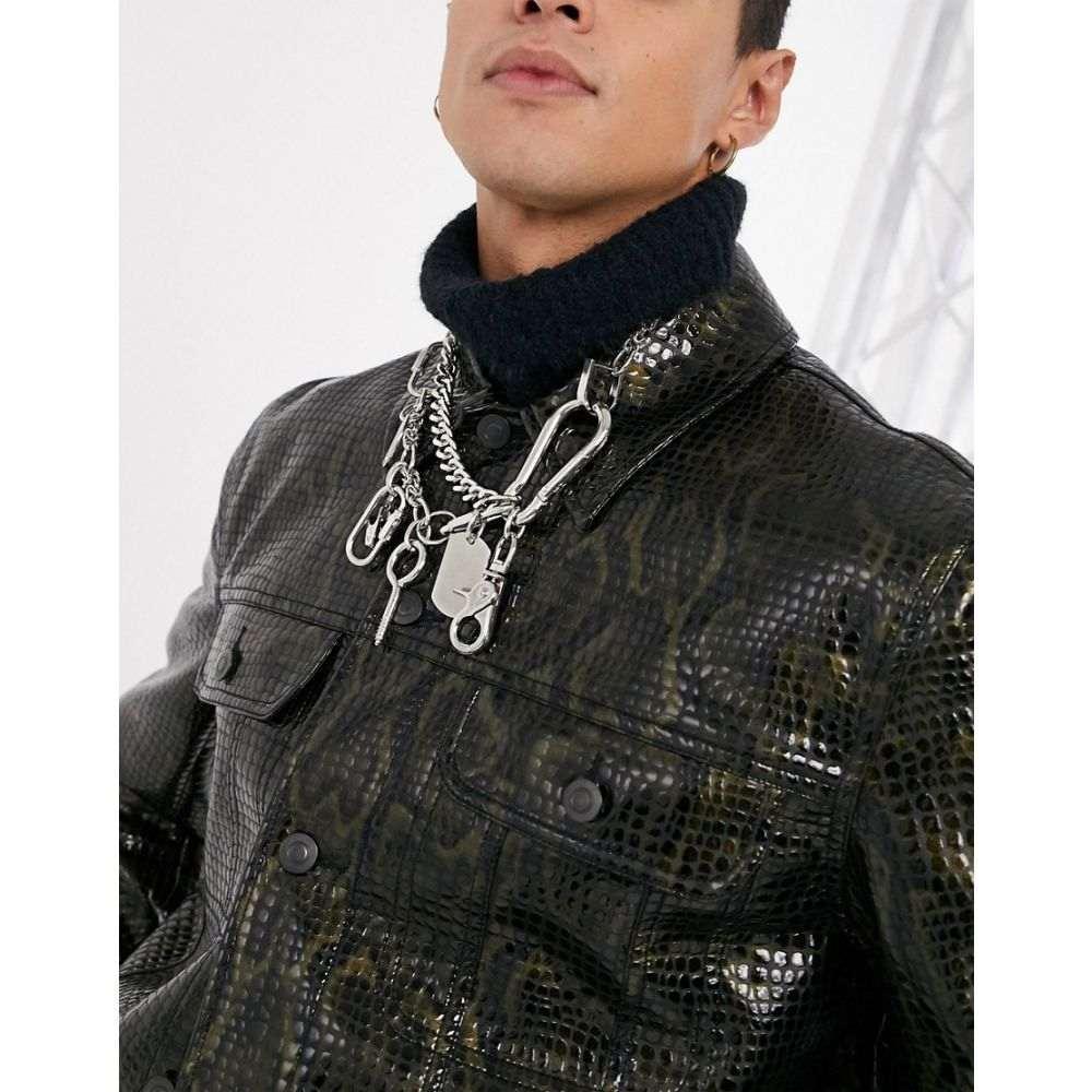 エイソス ASOS EDITION メンズ ネックレス ジュエリー・アクセサリー【chunky chain with mixed up hardware charms】Silver