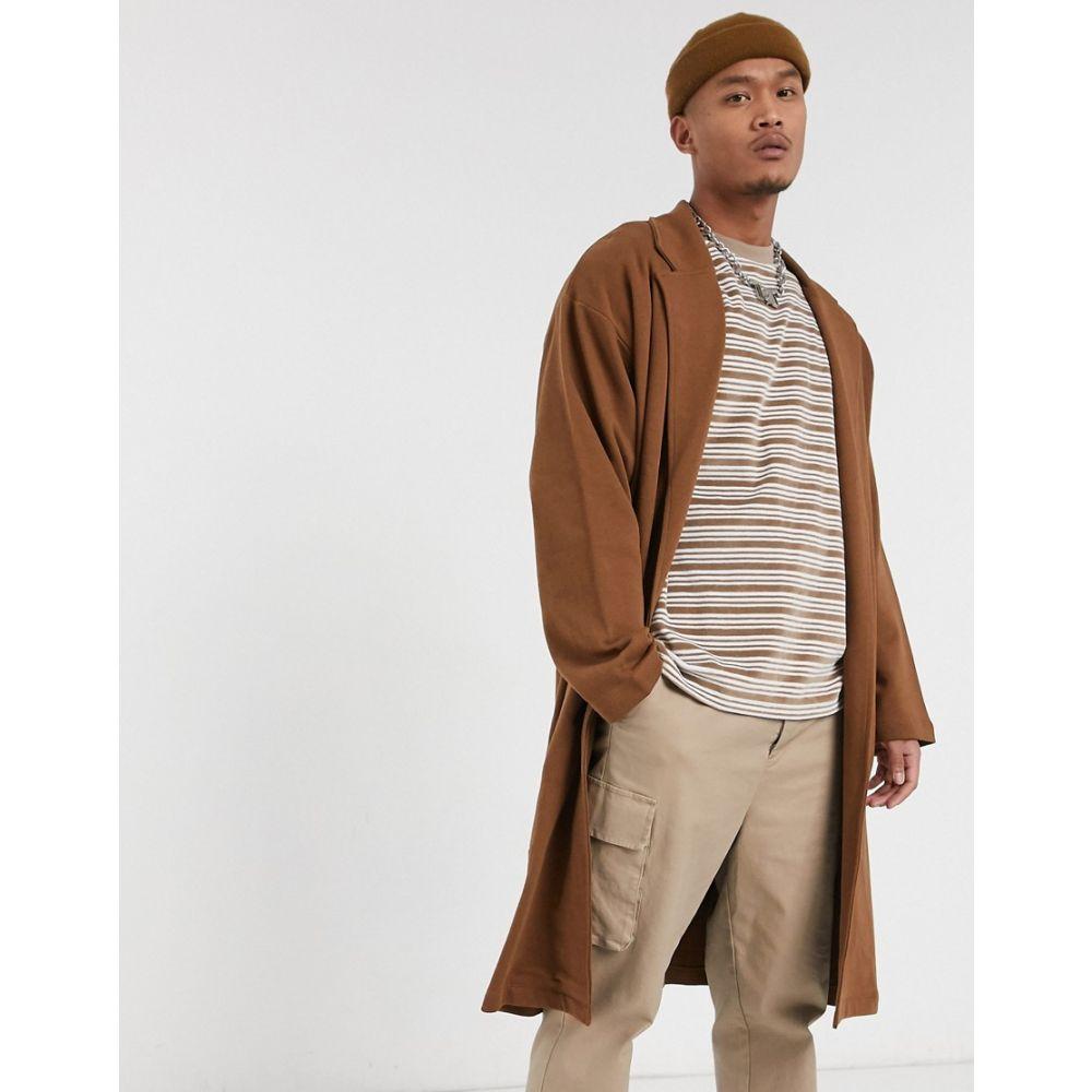 エイソス ASOS DESIGN メンズ ジャケット アウター【oversized jersey duster jacket in brown】Daschund