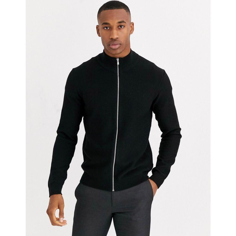 ジャック アンド ジョーンズ Jack & Jones メンズ カーディガン トップス【Premium zip through knitted cardigan in black】Black