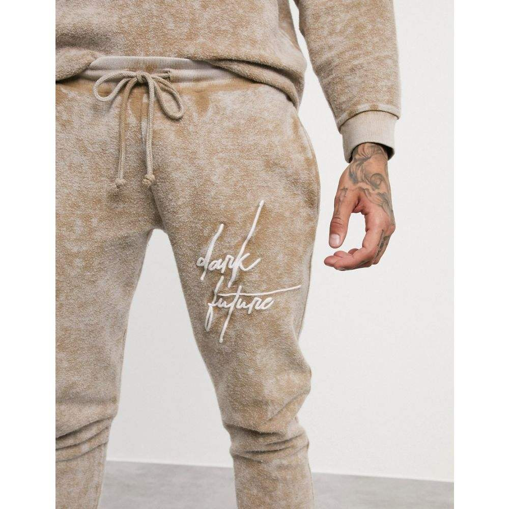 エイソス ASOS DESIGN メンズ ジョガーパンツ ボトムス・パンツ【co-ord skinny joggers in washed reverse fleece with dark future logo】Sesame