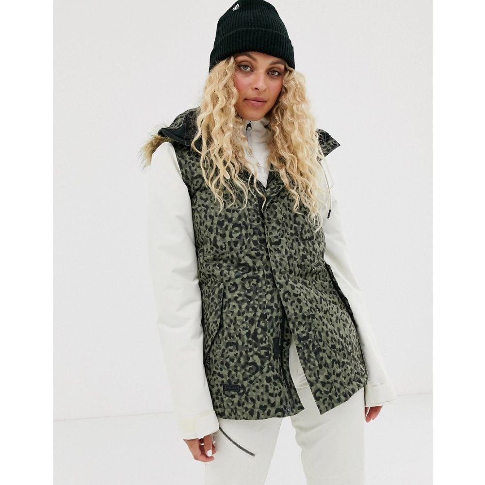 ボルコム Volcom レディース ジャケット アウター【Snow Fawn Insulated Leopard jacket in khaki】Grey