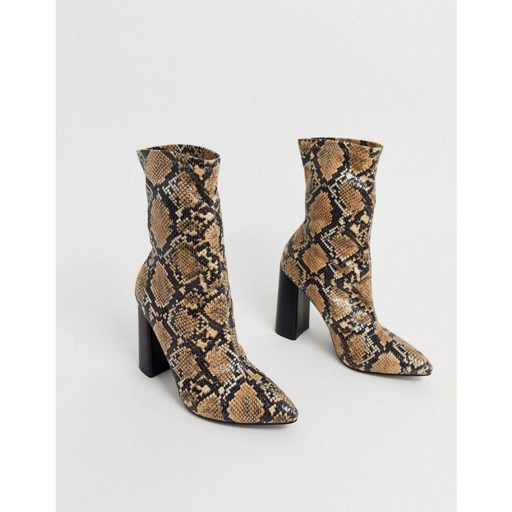 パブリックディザイア Public Desire レディース ブーツ ショートブーツ シューズ・靴【Libby heeled ankle boot in natural snake】Snake pu