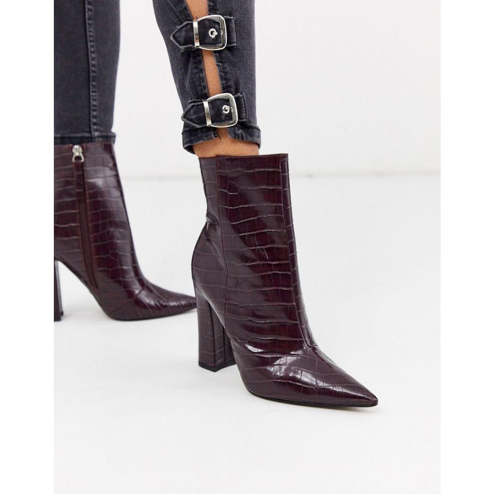 トップショップ Topshop レディース ブーツ シューズ・靴【heeled croc pointed boots in burgundy】Burgundy