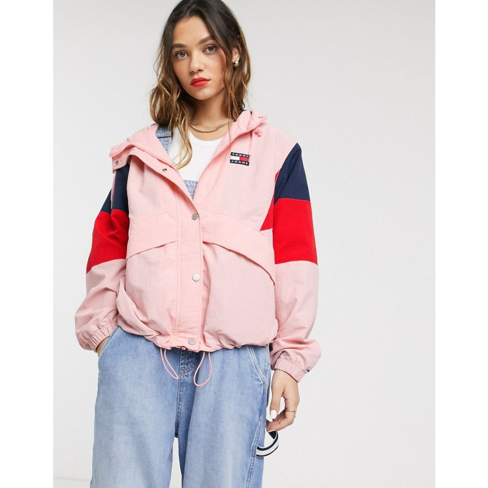 トミー ジーンズ Tommy Jeans レディース ジャケット ウィンドブレーカー アウター【contrast colour block windbreaker】Pink icing/black i