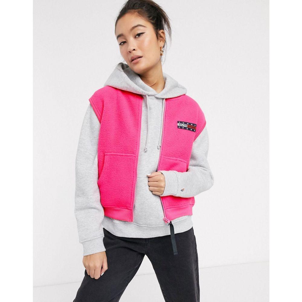 トミー ジーンズ Tommy Jeans レディース ベスト・ジレ トップス【fleece neon gilet with logo】Pink glo