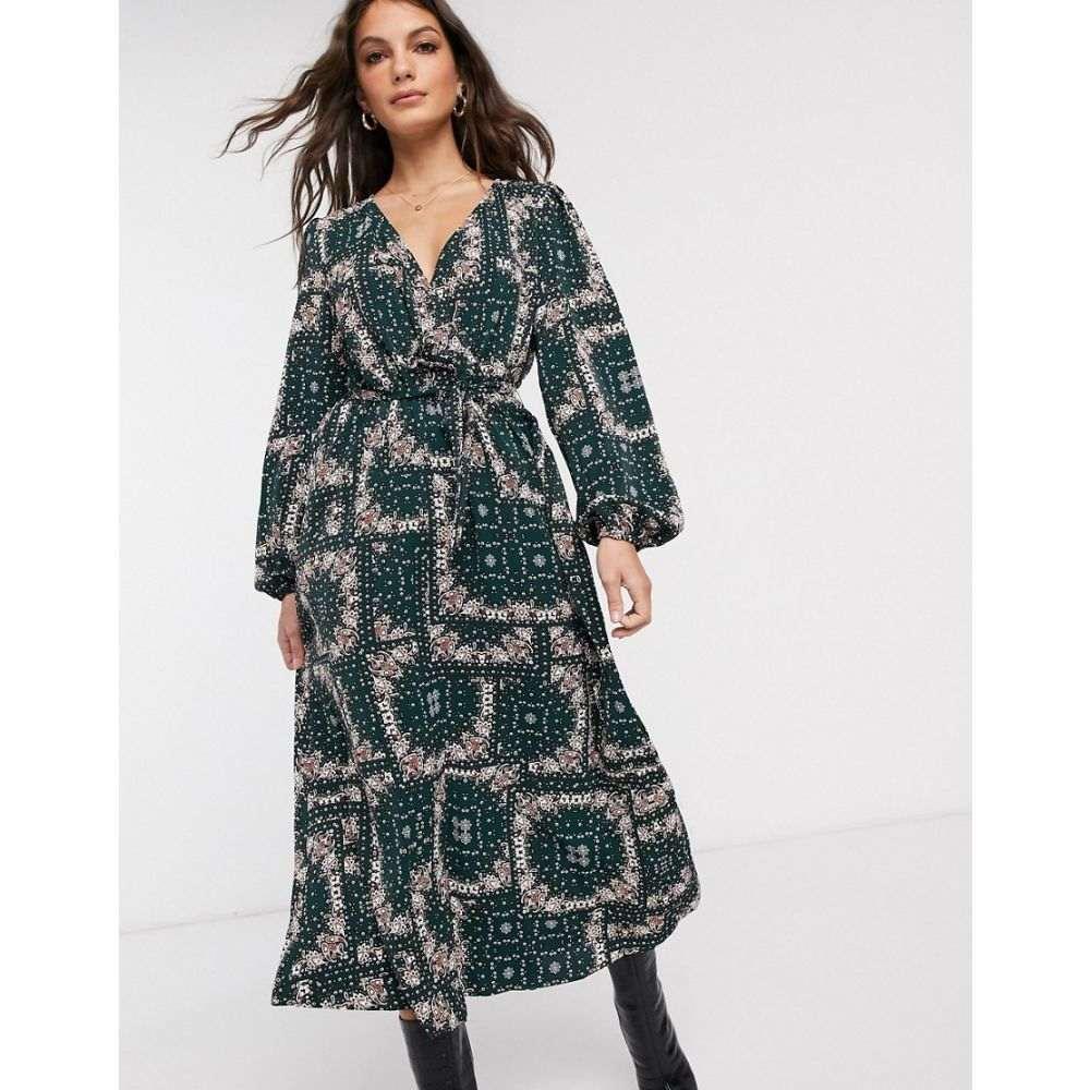 ヴィラ Vila レディース ワンピース ラップドレス ワンピース・ドレス【wrap maxi dress in paisley print】Green multi