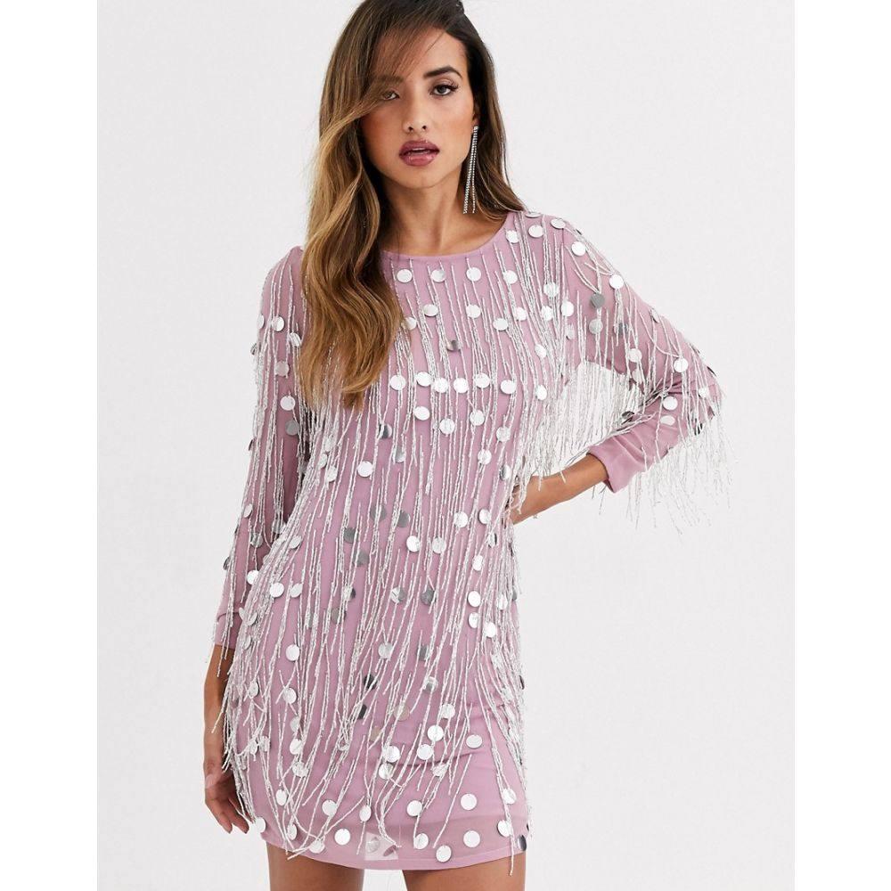 フレンチコネクション French Connection レディース ワンピース ワンピース・ドレス【Baani sequined dress with fringe beading】Dark lavender frost