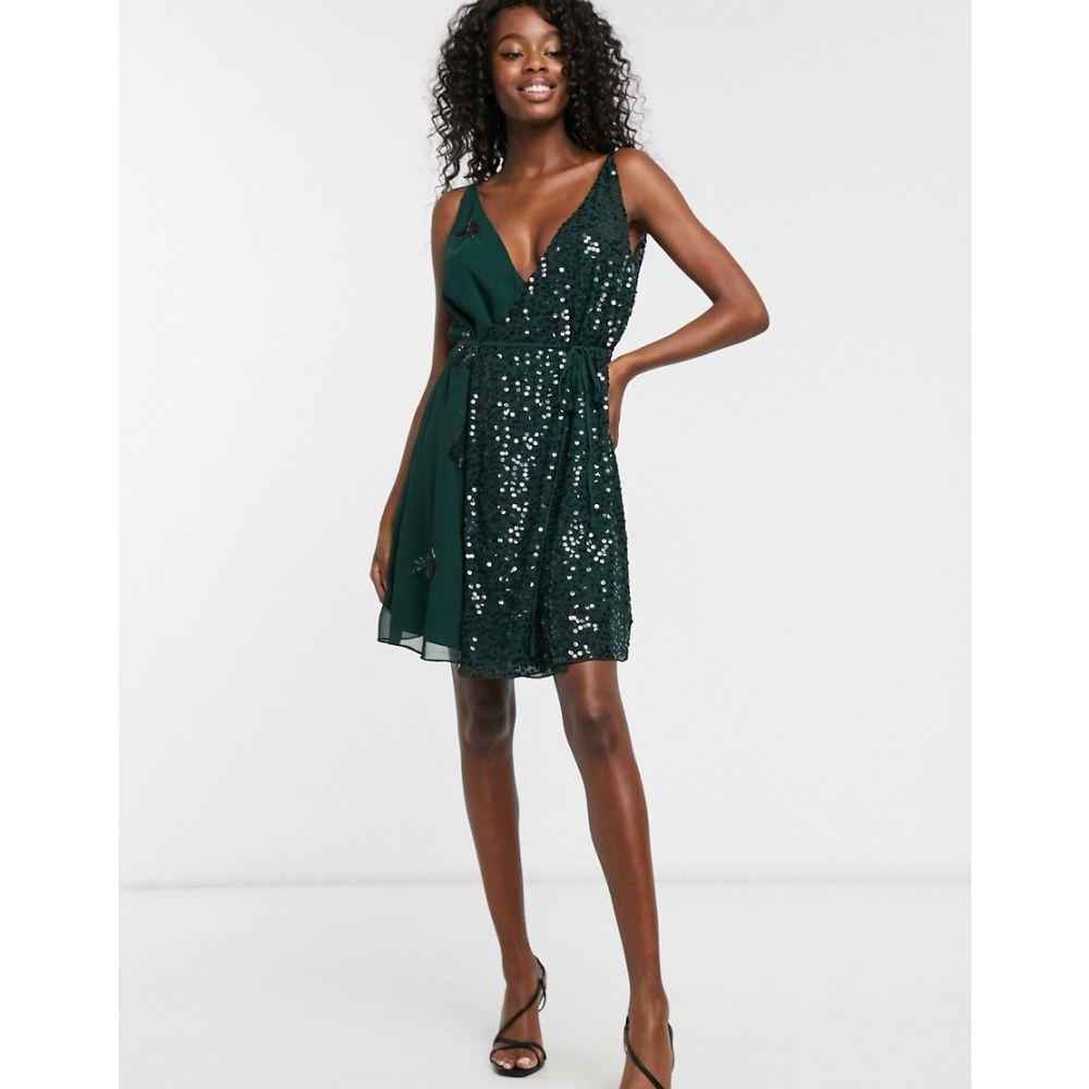 フレンチコネクション French Connection レディース ワンピース キャミワンピ ワンピース・ドレス【cami sequin mini dress】Bayou green