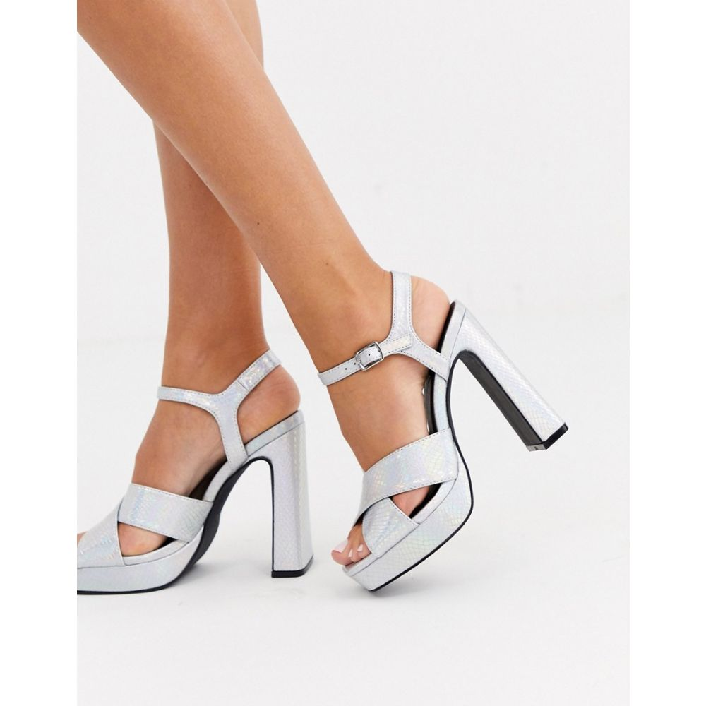 トリュフコレクション Truffle Collection レディース サンダル・ミュール シューズ・靴【cross strap platform heeled sandals】Irredescent snake