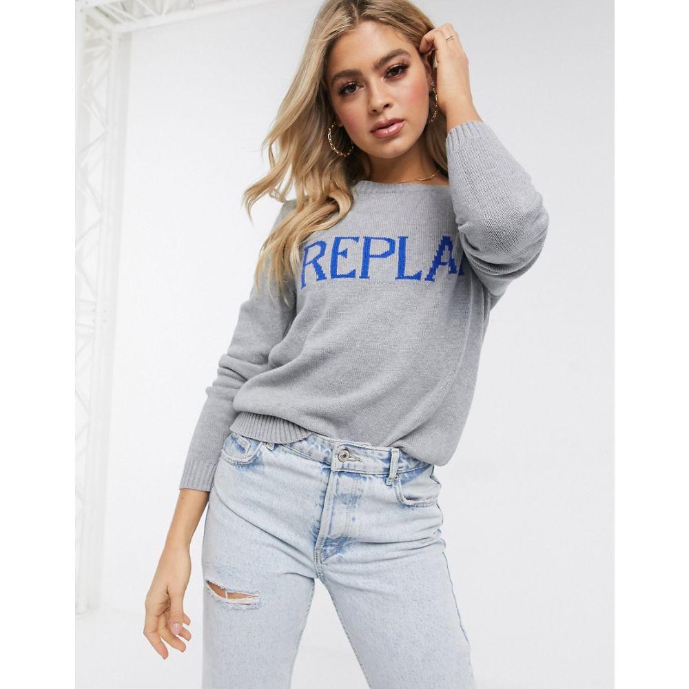 リプレイ Replay レディース ニット・セーター トップス【Logo sweater on white】Grey