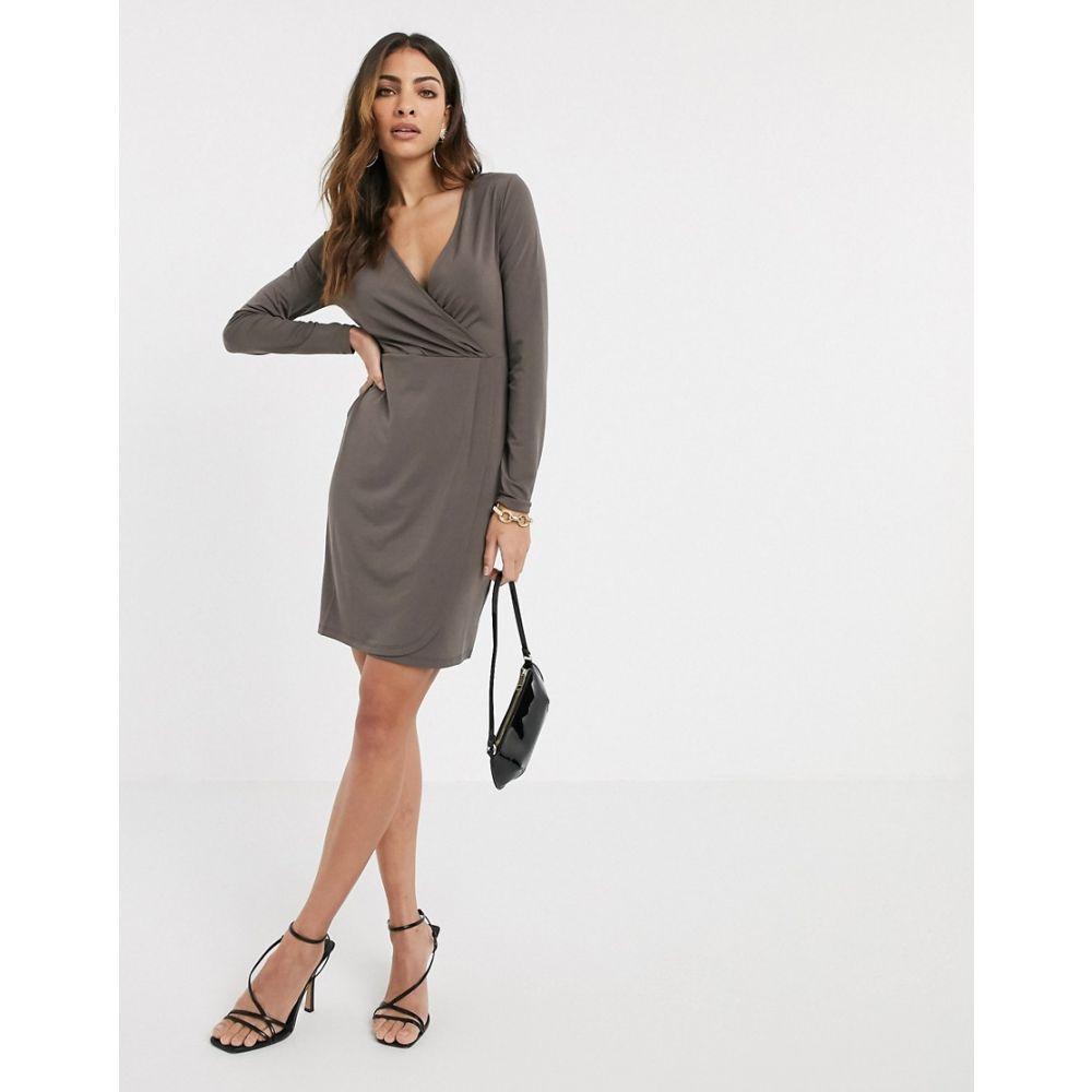 フレンチコネクション French Connection レディース ワンピース ラップドレス ワンピース・ドレス【slinky wrap long sleeved dress】Taupe
