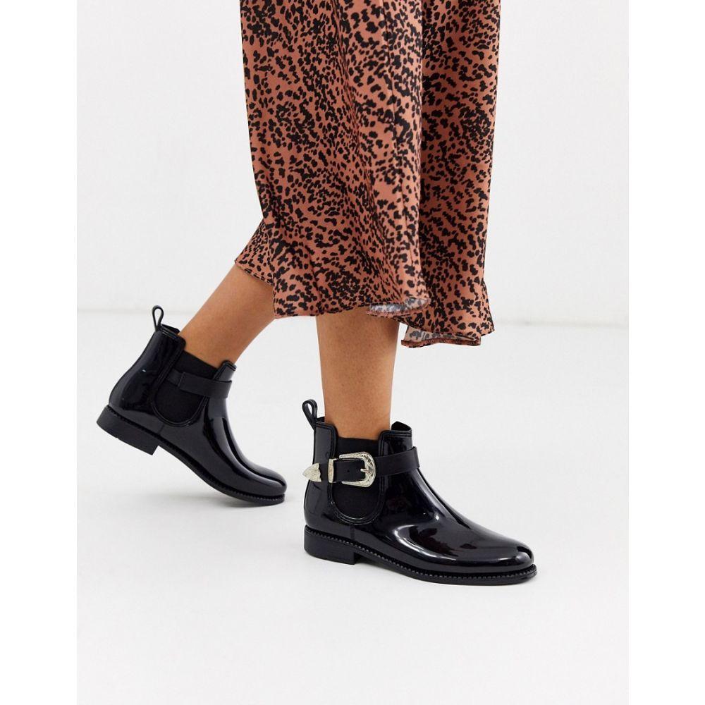 グラマラス Glamorous レディース ブーツ チェルシーブーツ ウェスタンブーツ シューズ・靴【chelsea boots with western buckle detail】Black