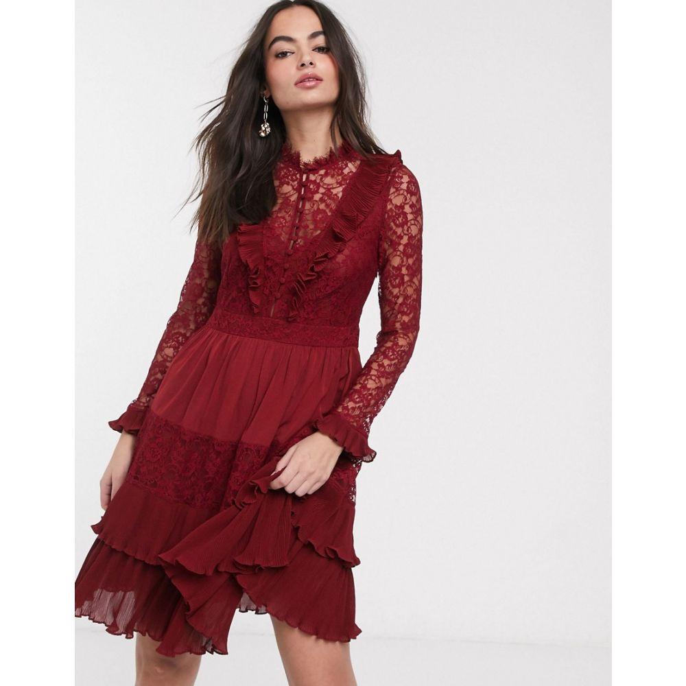 フレンチコネクション French Connection レディース ワンピース ワンピース・ドレス【clandre vintage lace mix dress】Rosso red
