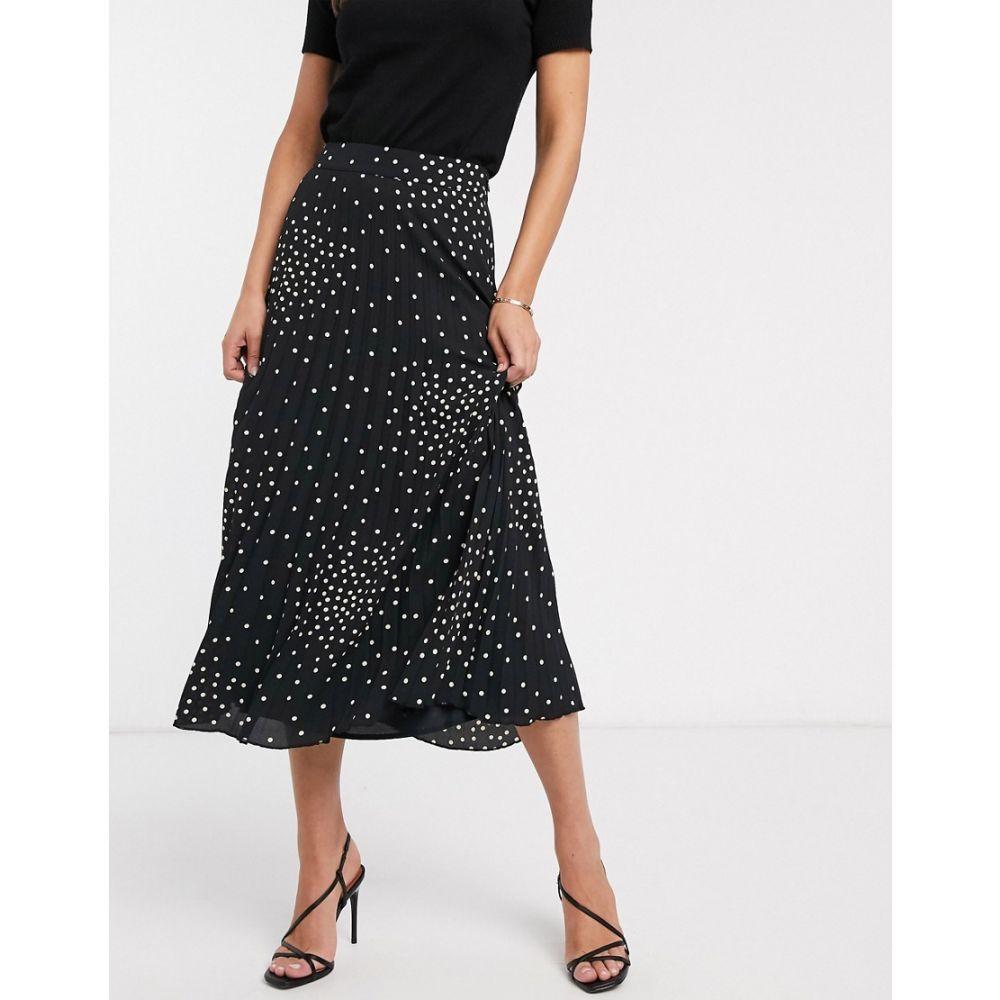 ウェアハウス Warehouse レディース ひざ丈スカート スカート【pleated midi skirt in polka dot】Black print