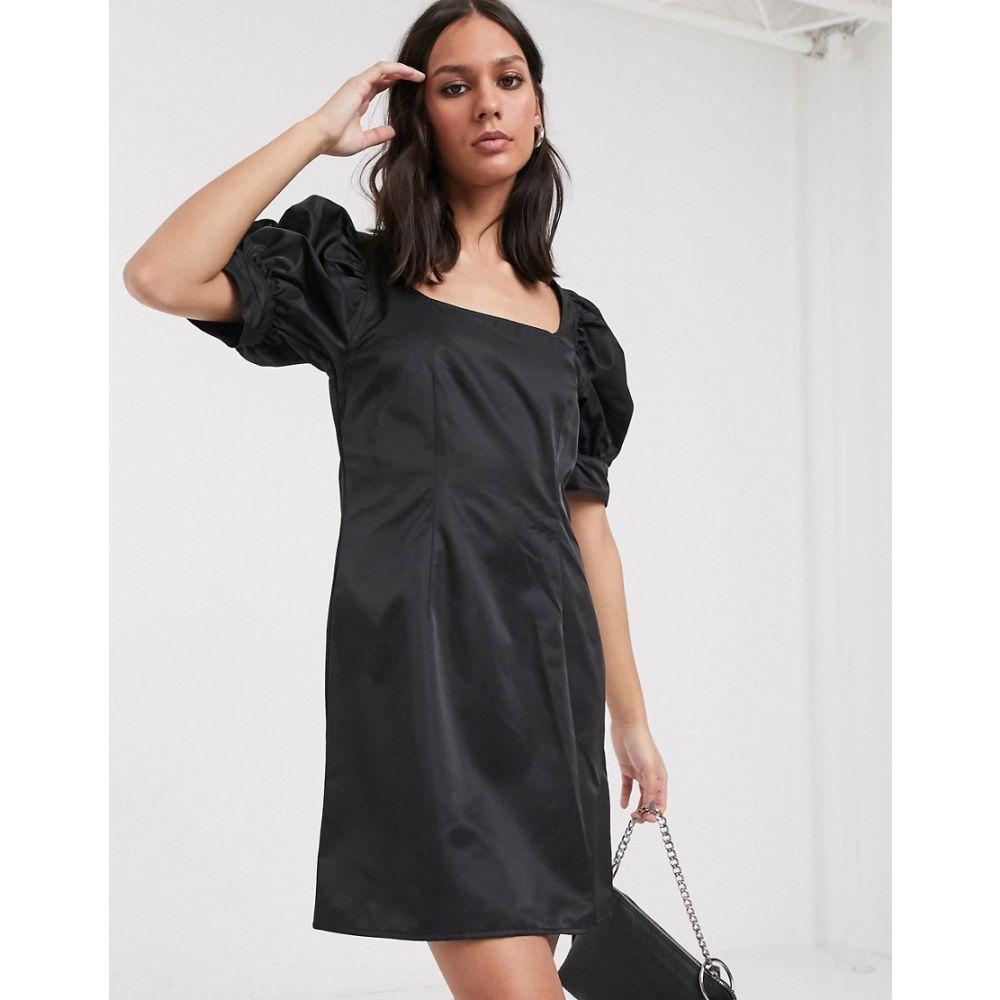 ウィークデイ Weekday レディース ワンピース ミニ丈 ワンピース・ドレス【Delana puff sleeve mini dress in black】Black
