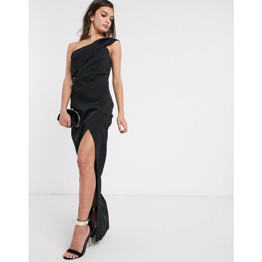 リバーアイランド River Island レディース ワンピース ワンピース・ドレス【one shoulder midi dress in black】Black