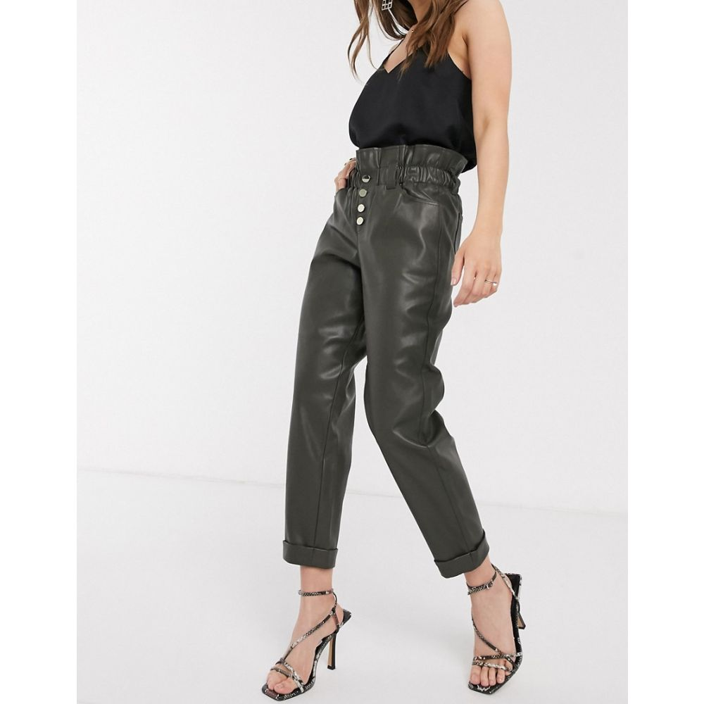 リバーアイランド River Island レディース ボトムス・パンツ 【faux leather paperbag waist trousers in khaki】Khaki